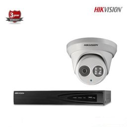 Hikvision IP kit 1x dome 4 megapixel camerabewaking set