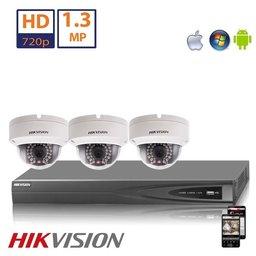 Hikvision HD 1.3 MP camerasysteem met 3x IP Dome Camera