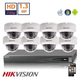 Hikvision HD 1.3 MP camerasysteem met 8x IP Dome Camera