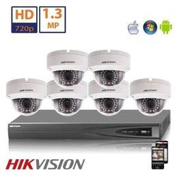 Hikvision HD 1.3 MP camerasysteem met 6x IP Dome Camera