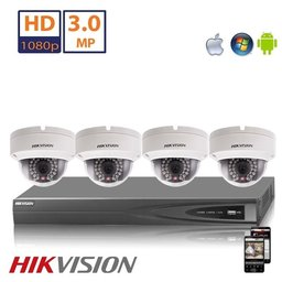 Hikvision Full HD 4.0 MP camerasysteem met 4x IP Dome Camera