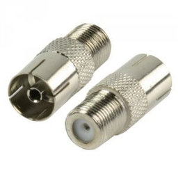 verloop F-connector female en Coax plug female