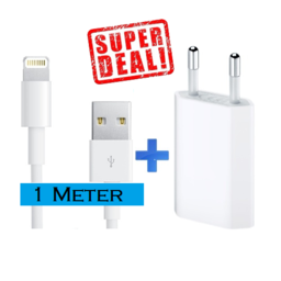 iPhone Lightning 5 6 7 8 X Xs Xr Plus SE Usb oplader + 1 Meter kabel