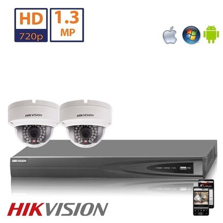 Hikvision HD 2 MP camerasysteem met 2x IP Dome Camera