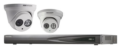 Hikvision IP kit 2x dome 4 megapixel camerabewaking set