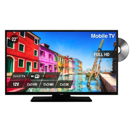 Nikkei NLD22FMBKSMART 22inch Mobile Full HD LED TV Smart inclusief DVD 12 volt aansluting