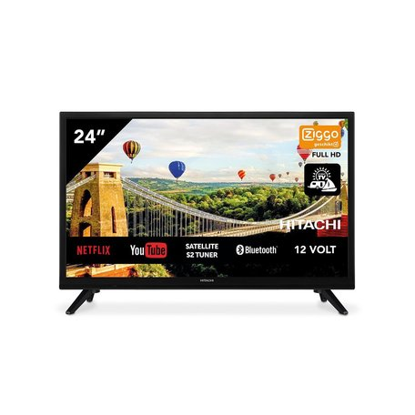 Hitachi 24HE2202 24 inch 61cm Smart AndroidTV Wifi Bluetooth HD LED DVB-S2/C/T2 - 12V en 220V - Chromecast ingebouwd