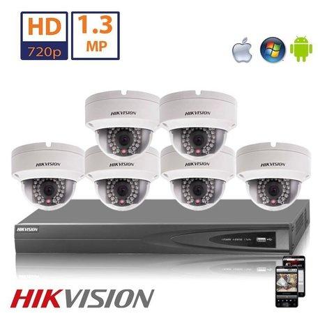Hikvision HD 1.3 MP camerasysteem met 6x IP Dome Camera