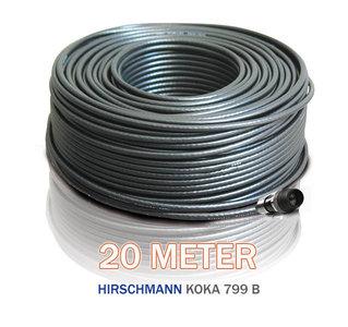 20 meter coax Hirschmann Koka 799 zwart met 1 x PCT connector